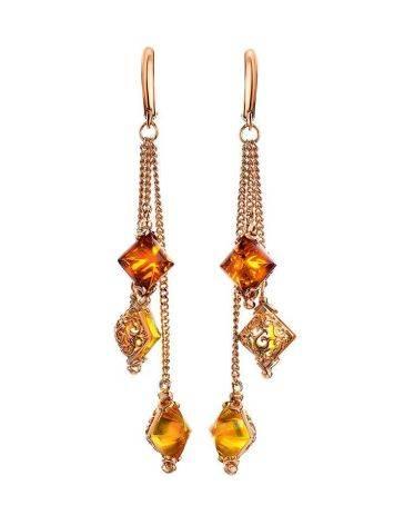 Изысканные удлинённые серьги с янтарём двух цветов «Касабланка», фото