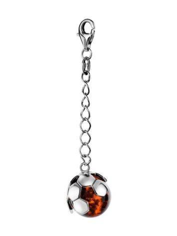 «Лига» Серебряный брелок с натуральным янтарём в виде футбольного мяча, фото
