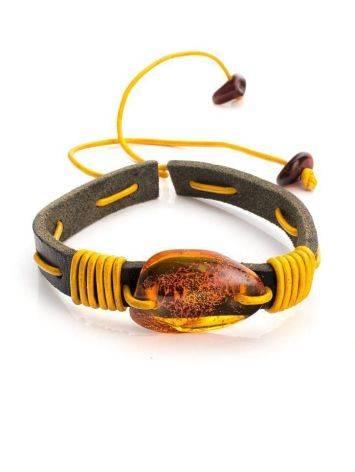 Браслет из кожи контрастных цветов с натуральным цельным янтарём «Копакабана», фото
