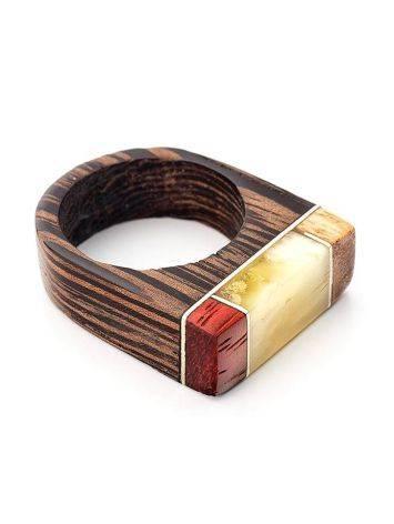 Кольцо в эко-стиле из дерева и натурального янтаря «Индонезия», Размер кольца: 17.5, фото