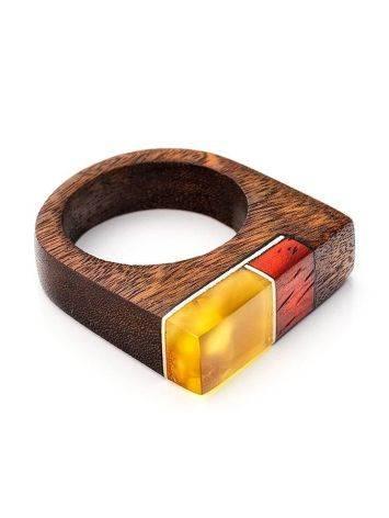 Оригинальное деревянное кольцо с натуральным янтарём «Индонезия», Размер кольца: 18.5, фото