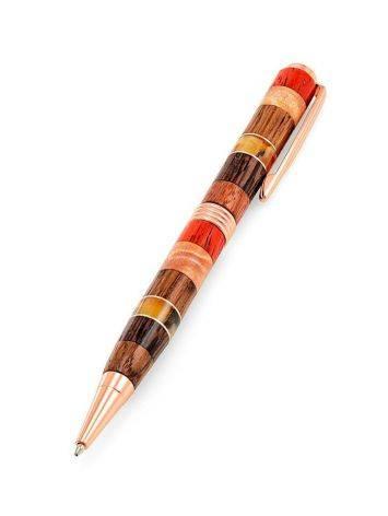 Ручка авторской работы из разных пород дерева и натурального янтаря «Индонезия», фото