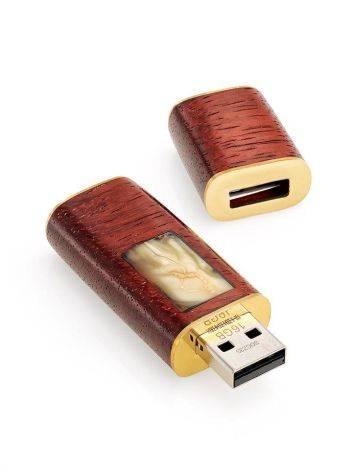 USB flash-card из древесины падука и натурального янтаря «Индонезия», фото