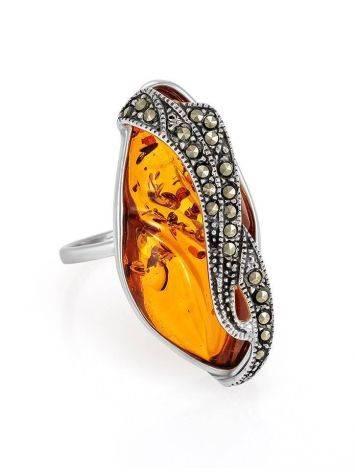 Яркое кольцо Colorado из натурального цельного янтаря и марказита 18, фото