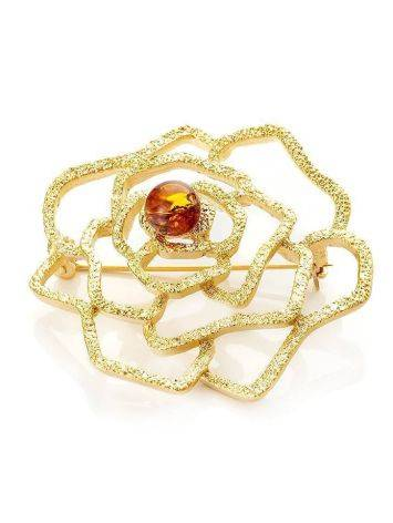 Ажурная позолоченная брошь, украшенная натуральным янтарём Beoluna, фото