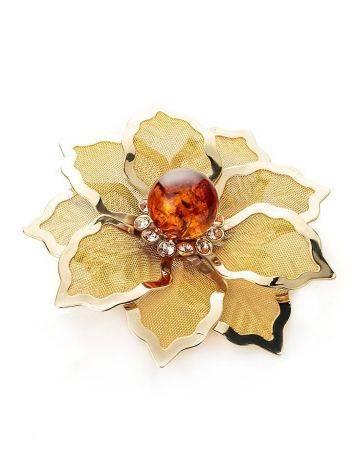 Брошь в виде цветка с натуральным балтийским янтарём и кристаллами Beoluna, фото