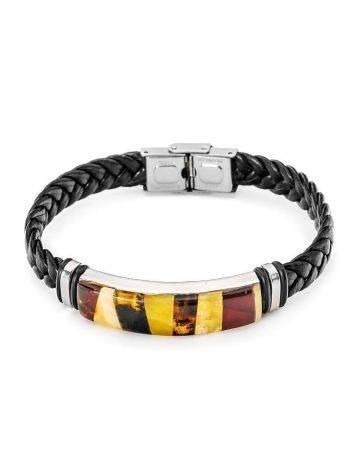 Мужской браслет с янтарной мозаикой «Сильверстоун», фото