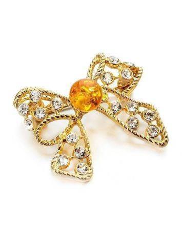 Небольшая нарядная брошь с натуральным янтарём и кристаллами Beoluna, фото