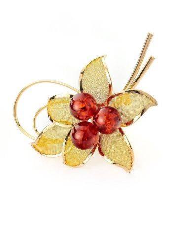 Позолоченная брошь Beoluna, украшенная натуральным янтарём, фото
