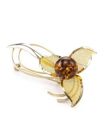 Красивая позолоченная брошь с натуральным коньячным янтарём Beoluna, фото