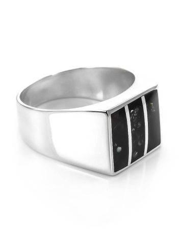Перстень-печатка London из серебра со вставками из натурального янтаря, Размер кольца: 21.5, фото