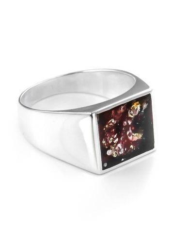 Серебряный перстень с натуральным янтарём вишнёвого цвета London, Размер кольца: 21.5, фото