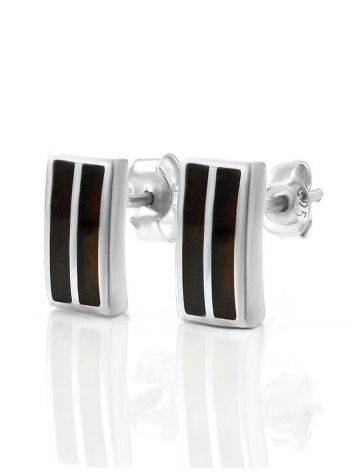 Стильные серьги-гвоздики из серебра и вишнёвого янтаря London, фото