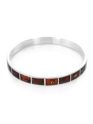 Цельный литой браслет из серебра, украшенный янтарём London, фото
