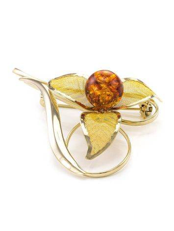 Воздушная позолоченная брошь с натуральным янтарём коньячного цвета Beoluna, фото