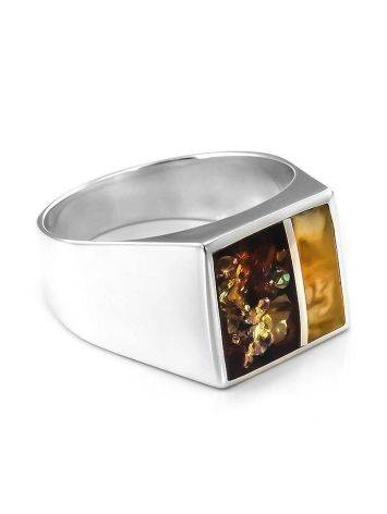 Яркий перстень из серебра со вставками из натурального янтаря London, Размер кольца: 22, фото