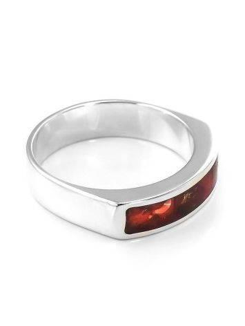 Яркое необычное кольцо London из натурального балтийского янтаря в серебре, Размер кольца: 16.5, фото