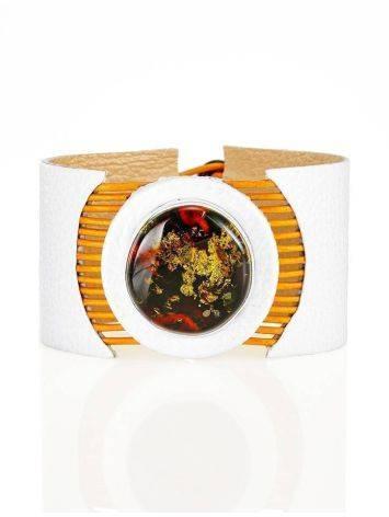 Стильный браслет из натуральной кожи и янтаря «Амазонка», фото