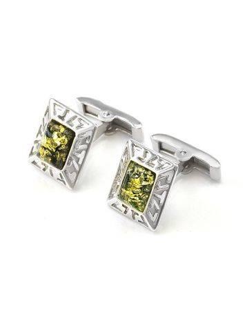 Небольшие эффектные запонки из серебра с натуральным янтарём зелёного цвета «Итака», фото