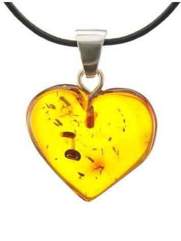 Подвеска в форме сердца из натурального балтийского янтаря коньячного цвета, фото