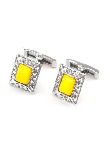 Яркие стильные запонки из серебра и натурального медового янтаря «Итака», фото