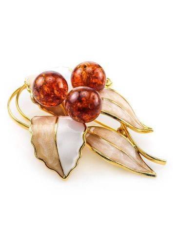 Элегантная брошь, покрытая эмалью и украшенная натуральным янтарём Beoluna, фото