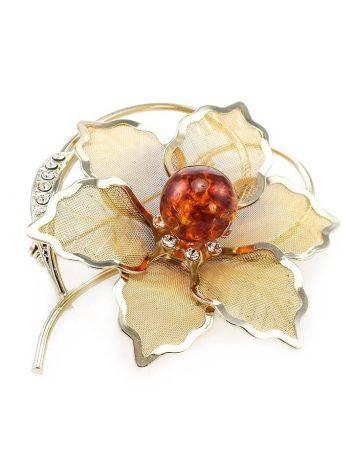 Красивая брошь, покрытая позолотой с натуральным балтийским янтарём и кристаллами Beoluna, фото