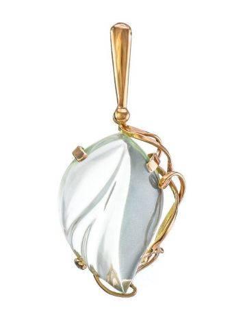 Красивая подвеска из золота 585 пробы с прозрачным празиолитом «Серенада», фото