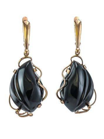 Роскошные яркие серьги «Серенада» из золота с чёрным ониксом, фото