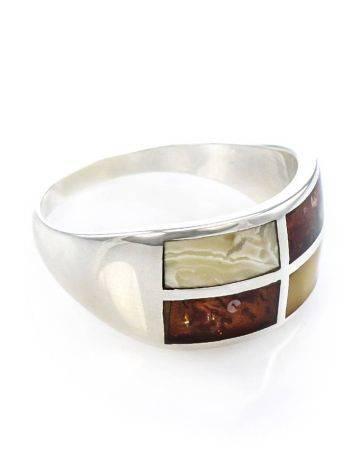 Оригинальное серебряное кольцо с янтарной инкрустацией London, Размер кольца: 18.5, фото