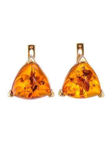 Позолочённые серебряные серьги со вставками из натурального коньячного янтаря «Треугольник», фото