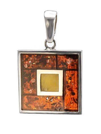 Стильная квадратная подвеска London из серебра и натурального балтийского янтаря, фото