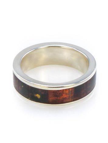 Яркое кольцо London из натурального балтийского янтаря в серебре, Размер кольца: 17, фото