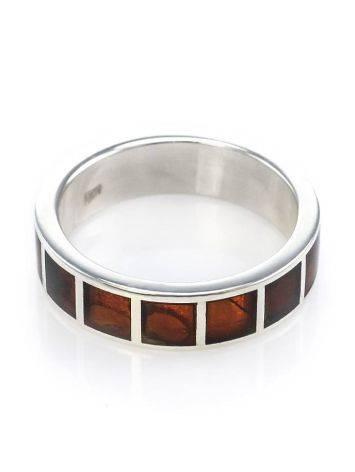 Яркое серебряное кольцо с инкрустацией из натурального балтийского янтаря «Лондон», Размер кольца: 23, фото