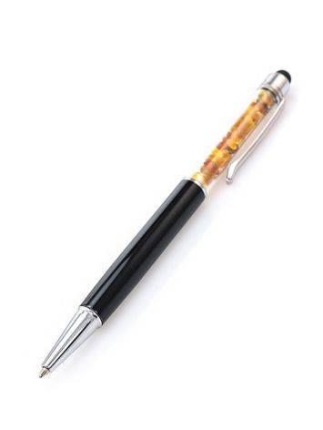 Ручка-стилус, декорированная натуральным балтийским янтарём, фото