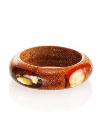 Стильное и необычное кольцо из дерева и натурального янтаря «Индонезия», Размер кольца: 18, фото