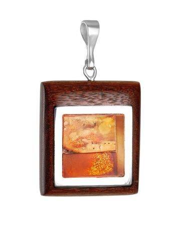 Оригинальный геометрический кулон из натурального балтийского янтаря и дерева «Индонезия», фото