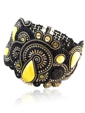 Роскошный плетёный браслет со вставками из натурального медового янтаря «Индия» в чёрном цвете, фото