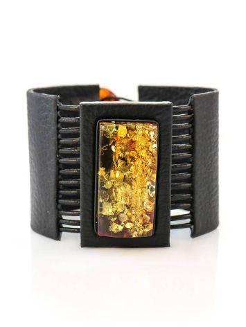 Широкий кожаный браслет с прямоугольной вставкой из натурального сверкающего янтаря «Амазонка», фото