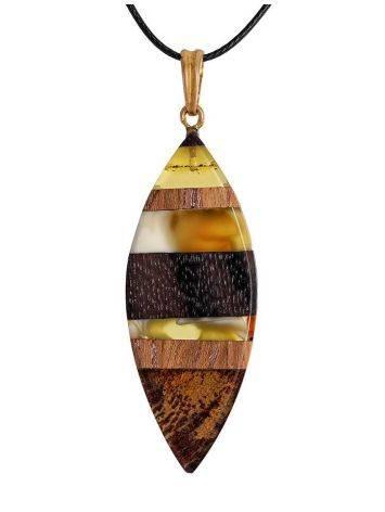 Стильная этническая подвеска из натурального балтийского янтаря и дерева «Индонезия», фото