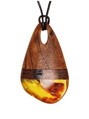 Стильная подвеска из дерева и натурального балтийского янтаря «Индонезия», фото