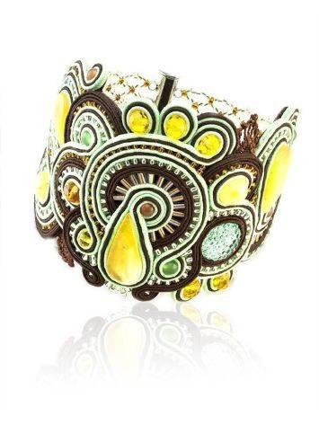 Стильный плетёный браслет со вставками из натурального медового янтаря «Индия», фото
