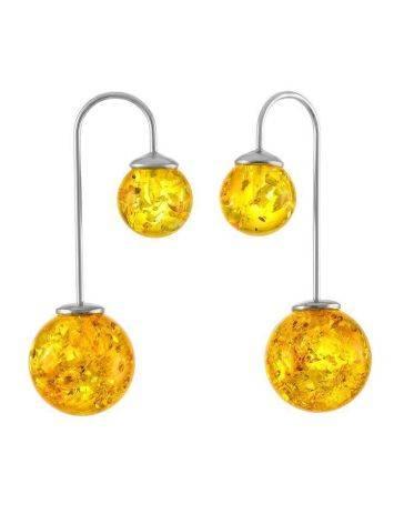 Изысканные асимметричные серьги из серебра с натуральным лимонным янтарём «Пигаль», фото
