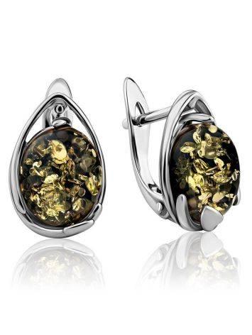 Серебряные серьги с натуральным янтарём зелёного цвета «Селена», фото
