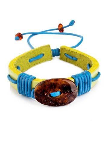 Яркий браслет с цельным янтарём из натуральной кожи «Копакабана», фото