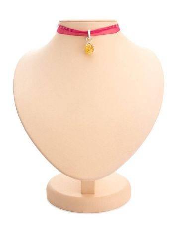Ярко-розовый чокер с подвеской из серебра и янтаря «Валенсия», фото