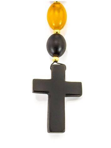 Католический розарий на 50 бусин-оливок из натурального формованного янтаря «Куба», фото , изображение 5