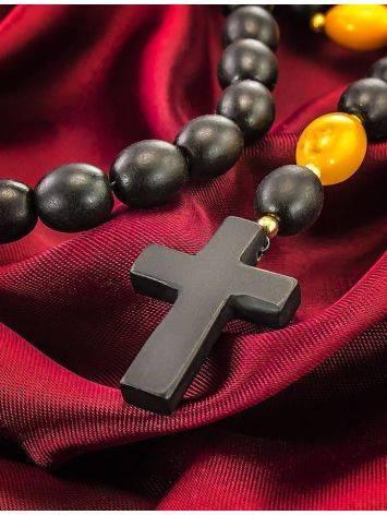 Католический розарий на 50 бусин-оливок из натурального формованного янтаря «Куба», фото , изображение 2