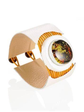 Стильный браслет из натуральной кожи и янтаря «Амазонка», фото , изображение 4