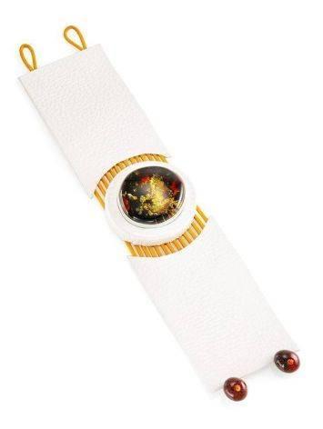 Стильный браслет из натуральной кожи и янтаря «Амазонка», фото , изображение 5